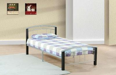 SILVER/BLACK FULL SIZE BED FRAME WITH BRAND NEW MATTRESS ...
