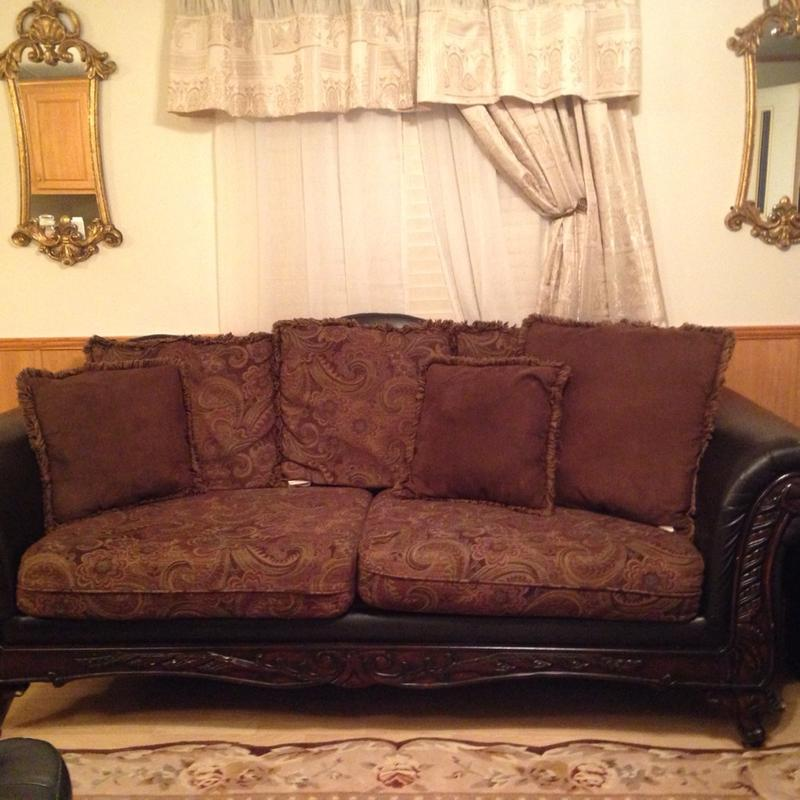 Paisley Accent Chair Under 150: Brown And Paisley Two Cousin Couch And Brown Leather