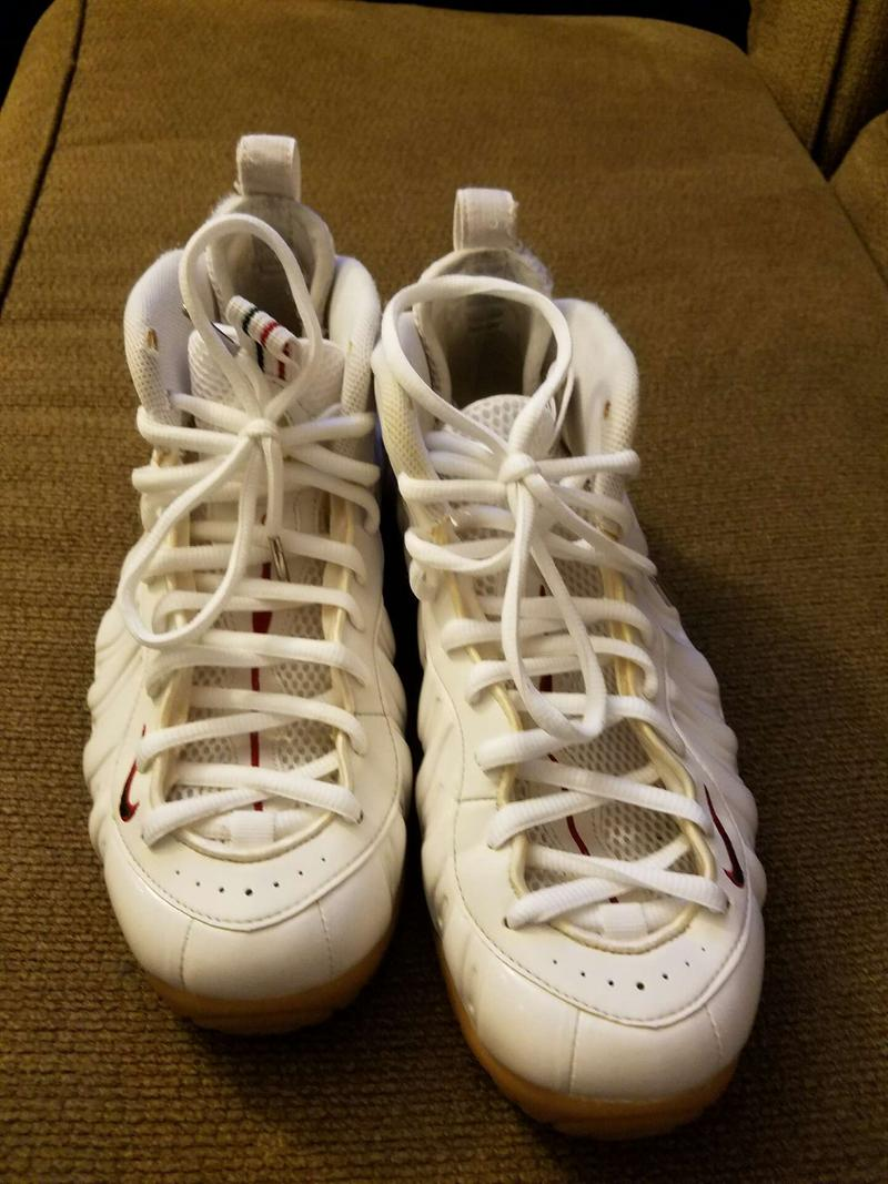 White Nike foamposite basketball shoes