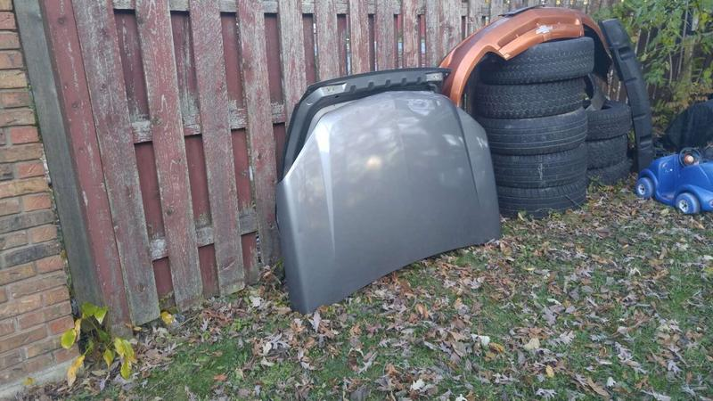 Photo Chevy equinox front hood and back tailgate in fair condition. Fits For a 2005 09 . the color is. Darkish gray .