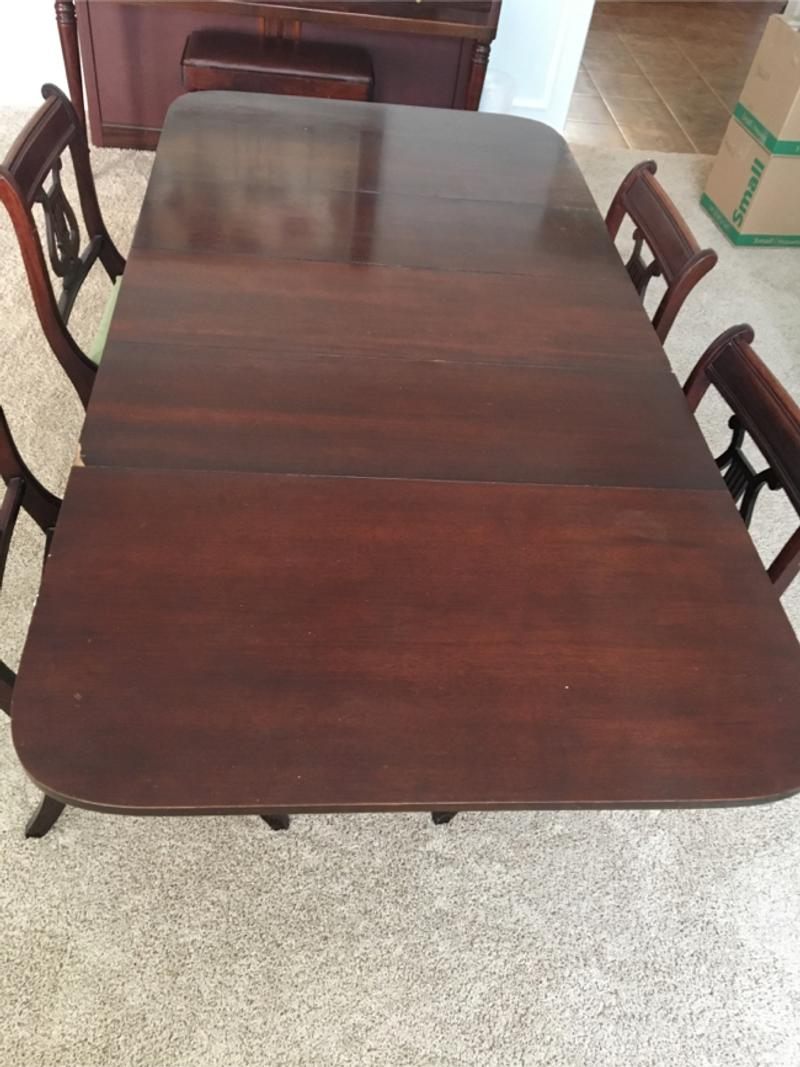 Vintage Duncan Phyfe dining room table and chairs for sale ...
