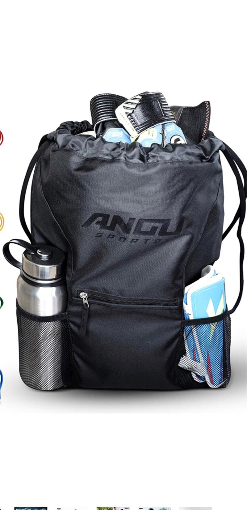 Photo ANGU SPORTS Youth Soccer Bag with Ball Holder for Kids, Girls, Boys, Men Women Soccer Backpack Great for Basketball, Football, Gym Bag, Volleyball, Lacrosse Drawstring Perfect for Sport Black