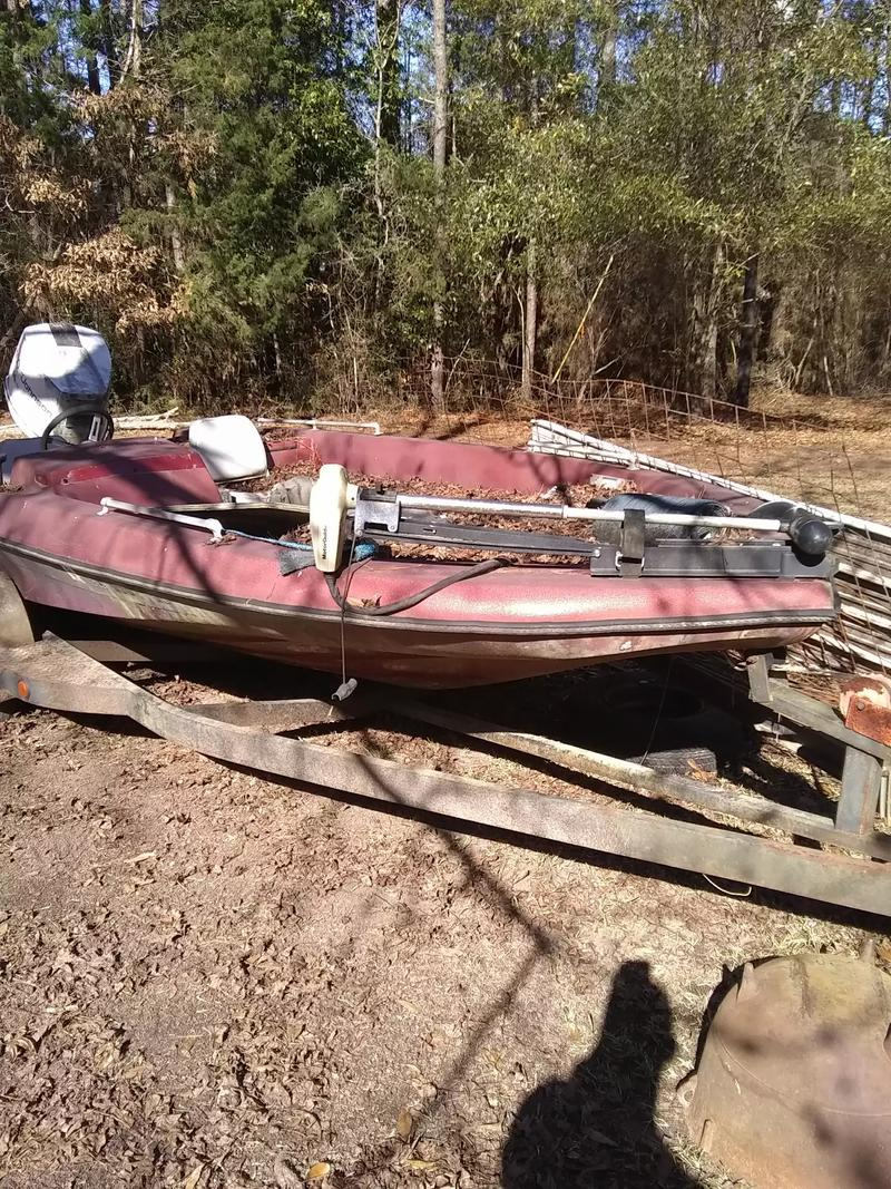 Photo Would like to sell or trade for four wheeler. Open to offers. Let me know what you got. Trailer is where the money is at really. Motor ran when it was last used. About 10 years ago... Boat is in Fair condition just needs a lil TLC.