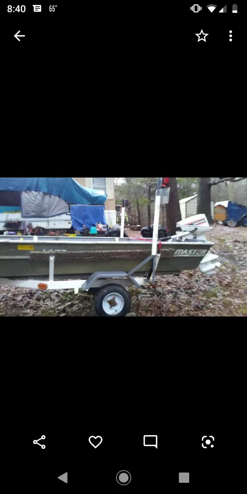 Photo 14 ft game Fisher boat new life jackets new deep cycle battery new wheels tires and berrings and trailer lights ready to fish