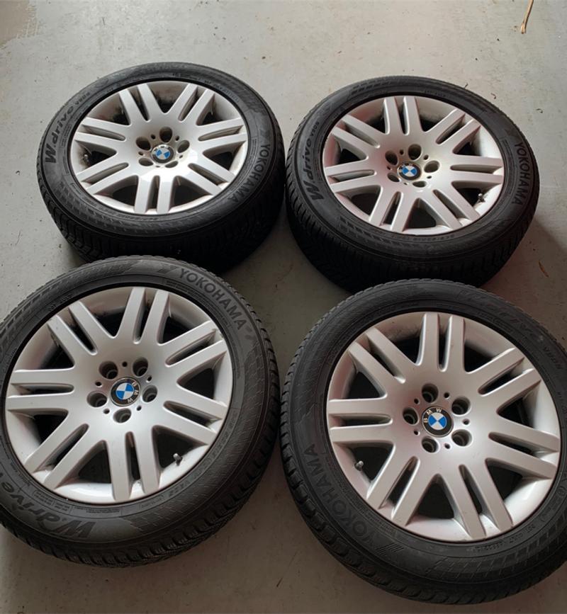 Photo 4 18 inch aluminum oem bmw rims with all weather Yokohama w drive v 905 tires