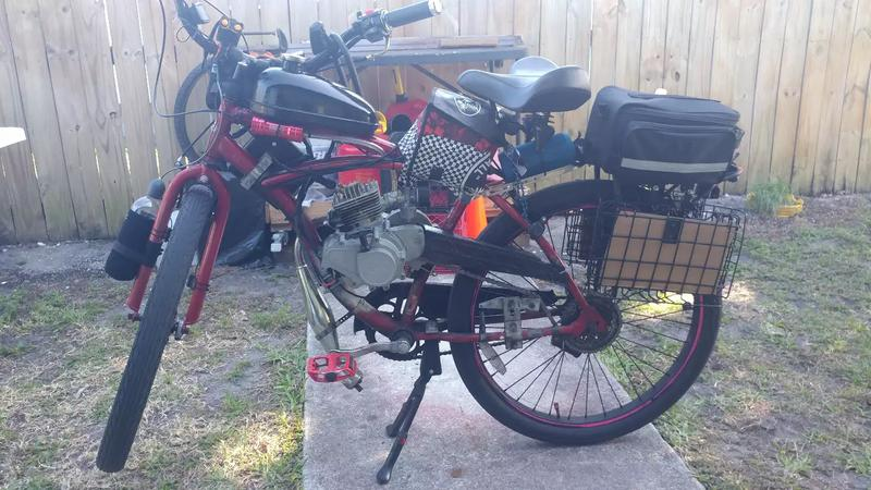 Photo 80cc motorized bicycle with bullet train 80 electric start engine does around 37 miles an hour. Runs well just needs tender love and care