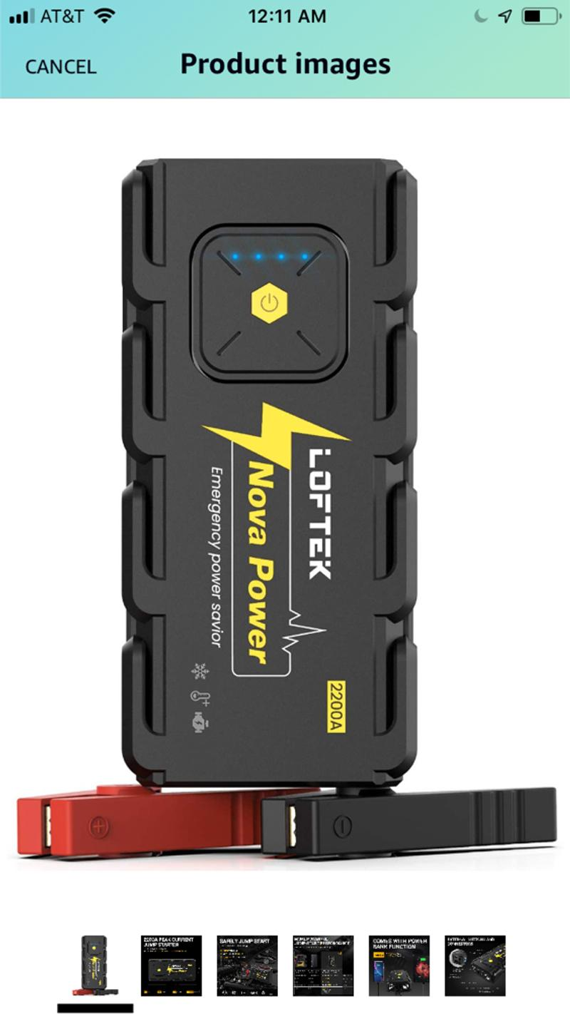 Photo 2200A Peak 20800mAh Car Jump Starter Up to 8.0L Gas or 6.5L Diesel Engine, 12V Portable Power Pack Auto Battery Booster with Builtin LED Light