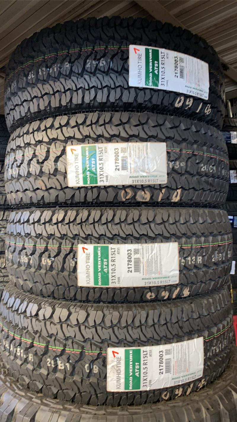 Photo We sell a full set of brand new tires 31x10.50R15 kumho at