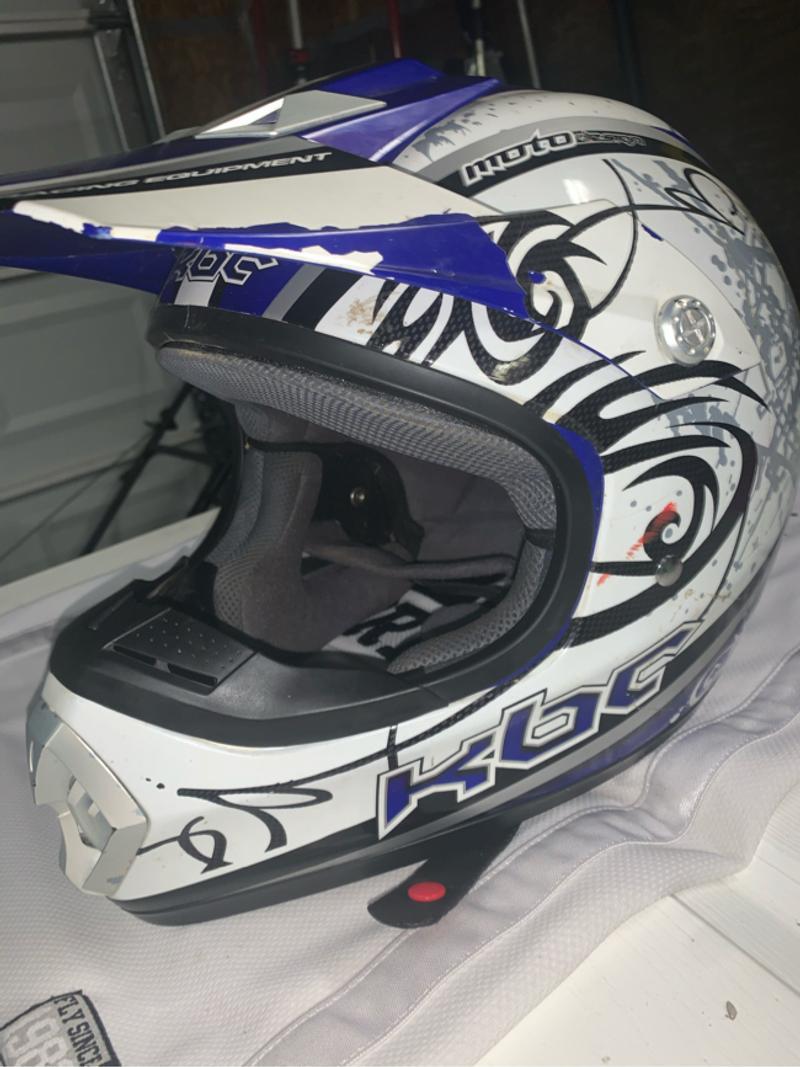 Photo Dirt bike helmet black,white,blue, gray