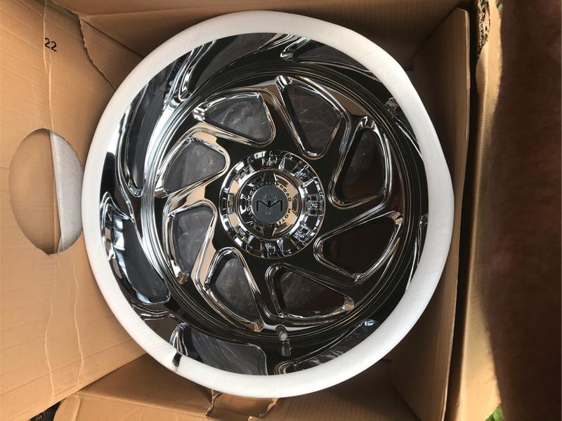 Photo 4 Brand New in box Chrome OffroadMorph 426C 22x12 6139.7 44 offset bolt pattern chrome with lugs. Will consider trade