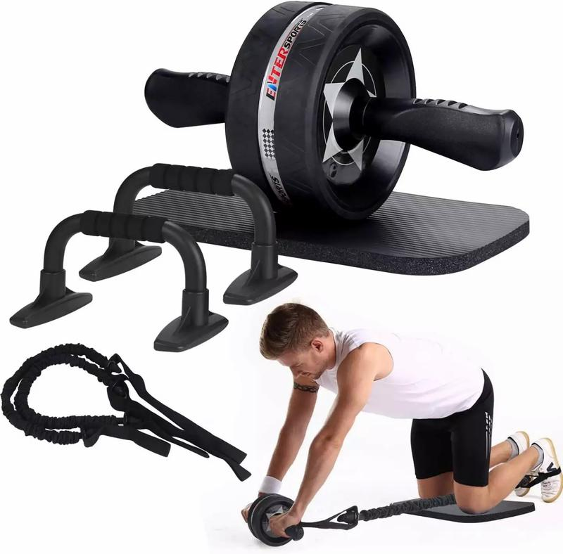 Photo Ab Roller Wheel, 6in1 Ab Roller Kit with Knee Pad, Resistance Bands, Pad Push Up Bars Handles Grips , Perfect Home Gym Equipment for Men Women Abdominal Exercise