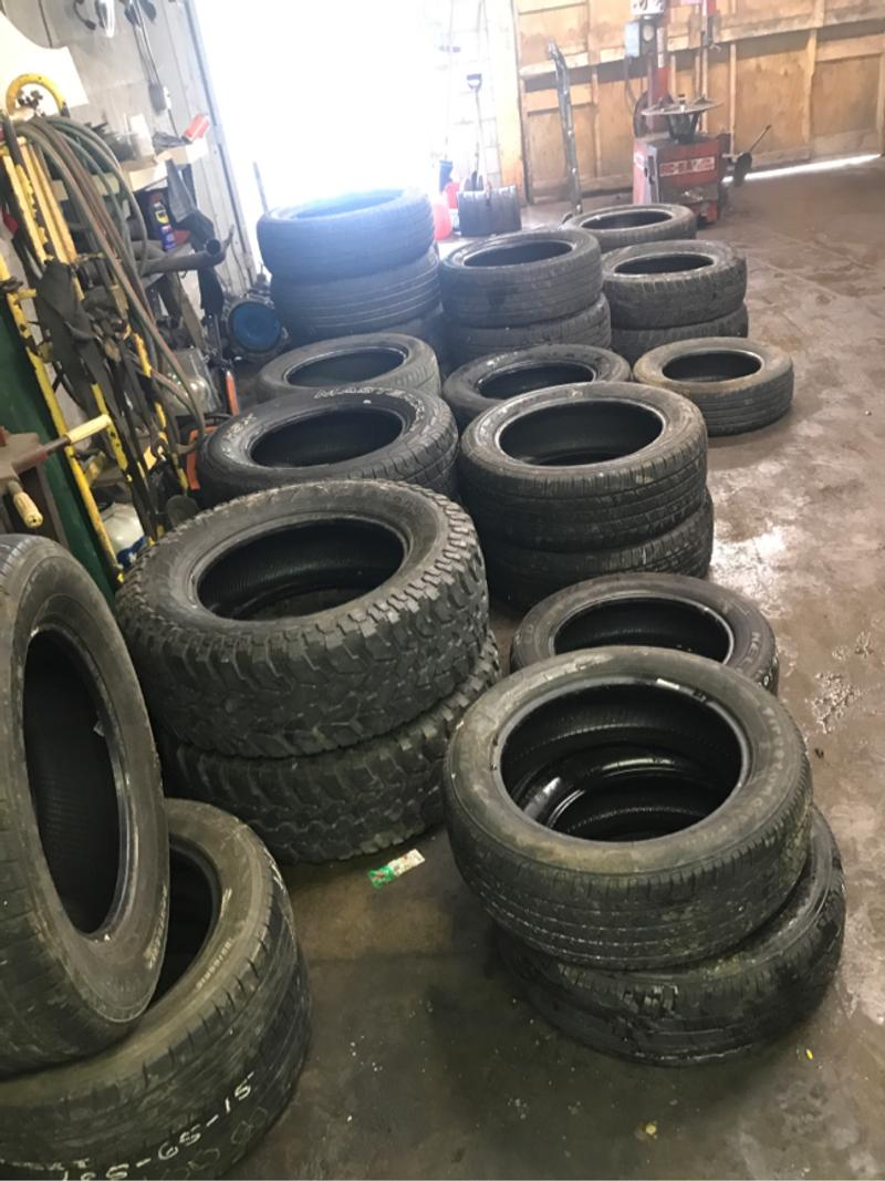 Photo Used tires we have all kind of tires all different sizes let me know what size you need we can Mount and balance them $25 for car tires and $30a tire for trucks 3 a pice to keep your old tires or call 724 8024223